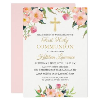 Pink Floral Girl First Holy Communion Invitation