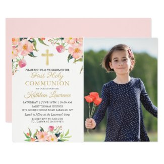 Pink Floral Girl First Holy Communion Photo Invite