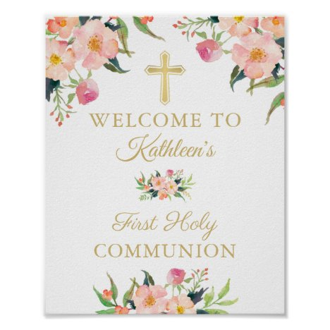 Pink Floral Girl First Holy Communion Welcome Sign