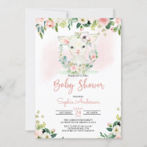 Pink Floral Girl Lamb Baby Shower Invitation