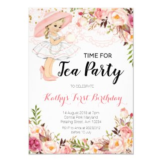 Pink Floral Girl Tea Birthday Party Invitation