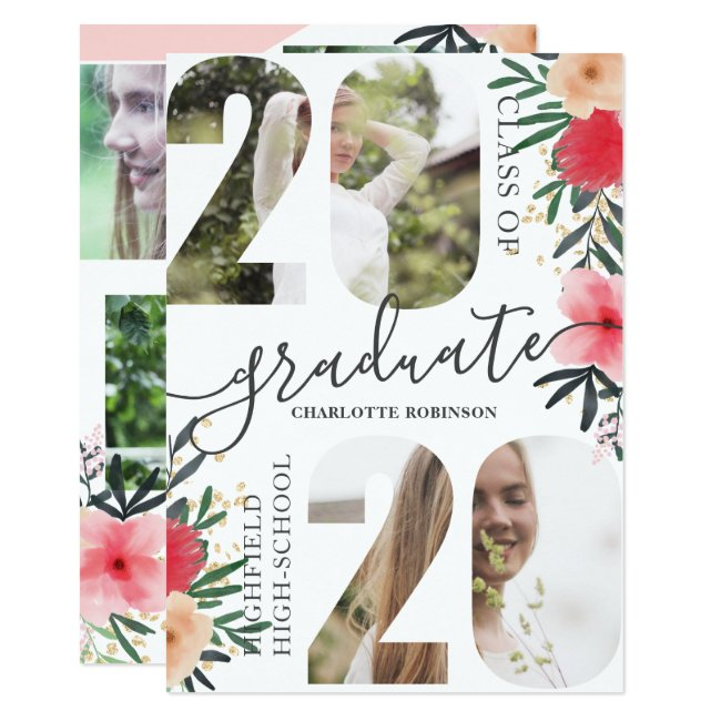 Pink floral glitter script 5 photo 2020 graduation invitation