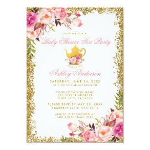 Tea party baby shower invitations zazzle pink floral gold baby shower tea party invite gp filmwisefo
