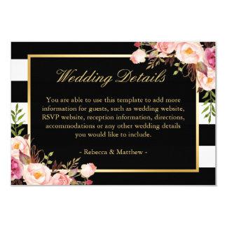 Pink Floral Gold Black Stripes Wedding Details Card