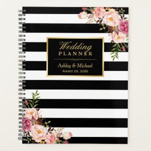 Pink Floral Gold Black White Stripes Wedding Planner