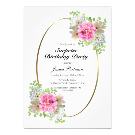 Pink Floral Gold Border Surprise Birthday Party Invitation