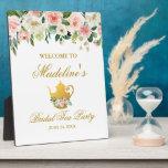 "Pink Floral Gold Bridal Shower Tea Party Welcome Plaque<br><div class=""desc"">Watercolor Pink Floral Gold Bridal Shower Tea Party Welcome Plaque</div>"