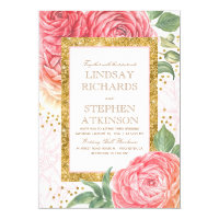 Pink Floral Gold Confetti Watercolor Wedding Card