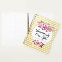Pink Floral & Gold Glam Watercolor Modern Stripe Planner
