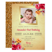 Pink Floral Gold Glitter First Birthday Invitation