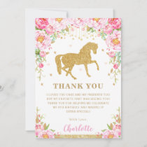 Pink Floral Gold Glitter Horse Birthday Party Thank You Card