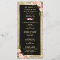 Pink Floral Gold Glitter Sparkling Wedding Program