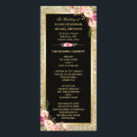 """Pink Floral Gold Glitter Sparkling Wedding Program<br><div class=""""desc"""">================= ABOUT THIS DESIGN =================  Pink Floral Gold Glitter Sparkling Wedding Program Template.  (1) All text style,  colors,  sizes can be modified to fit your needs. (2) If you need any customization or matching items,  please contact me.  (3) You can find the matching items here: http://www.zazzle.com/cardhunter/gifts?cg=196361094165356477</div>"""
