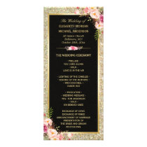Pink Floral Gold Glitter Sparkling Wedding Program