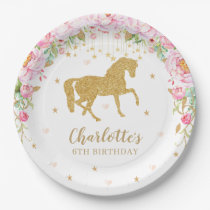 Pink Floral Gold Horse Birthday Baby Shower Paper Plate