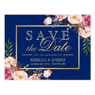 Pink Floral Gold Royal Navy Blue - Save the Date Postcard