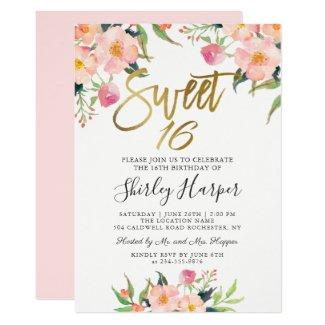 Pink Floral Gold Script Sweet Sixteen 16 Birthday Invitation