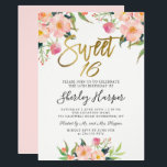 "Pink Floral Gold Script Sweet Sixteen 16 Birthday Invitation<br><div class=""desc"">Pink Floral Gold Script Sweet Sixteen 16 Birthday Invitation</div>"