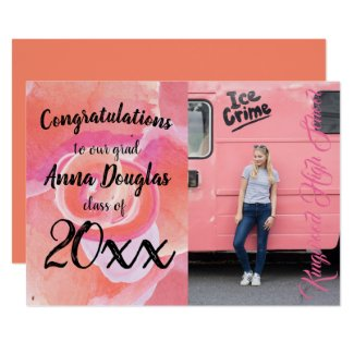 Pink Floral Graduation Announcement