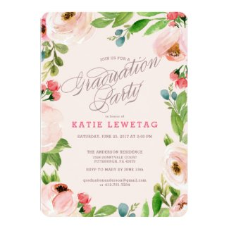 PINK FLORAL GRADUATION PARTY INVITATION