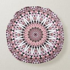 Pink Floral Gravel Mandala Round Pillow
