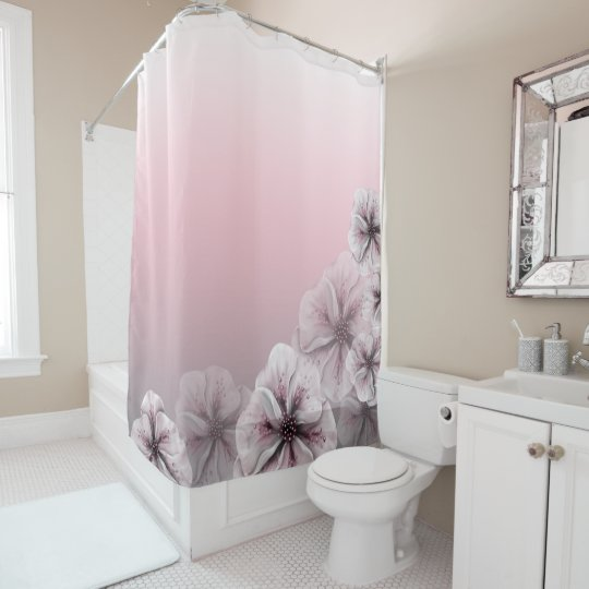 Pink Floral Gray White Ombre Shower Curtain