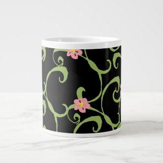Pink Floral Green Vines Large Coffee Mug