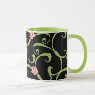 Pink Floral Green Vines Mug