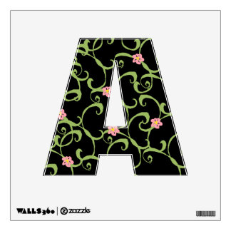 Pink Floral Green Vines Wall Sticker