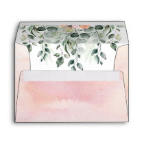 Pink Floral Greenery Watercolor Envelope