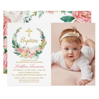 Pink Floral Greenery Wreath Girl Baptism Photo Invitation