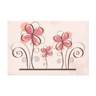 pink floral grungy canvas prints