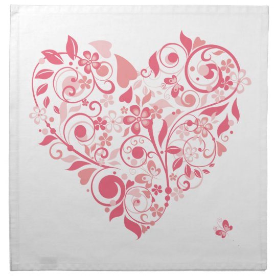 Pink Floral Heart Cloth Napkin