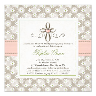 Pink Floral Heart Cross Baptism Photo Invitations