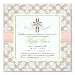 "Pink Floral Heart Cross Baptism Photo Invitations 5.25"" Square Invitation Card"
