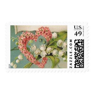 "Pink Floral Heart Stamp- Medium, 2.1"" x 1.3"", 1 oz Postage"
