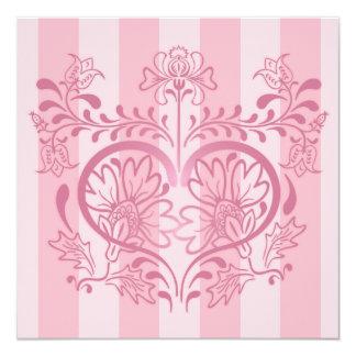 Pink Floral Heart & Stripes - Valentine Card