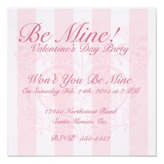 Pink Floral Heart & Stripes Valentine Invitation