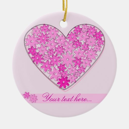 Pink floral heart with a name Double-Sided ceramic round christmas ornament