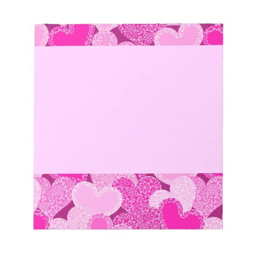 Pink floral hearts pattern memo pad
