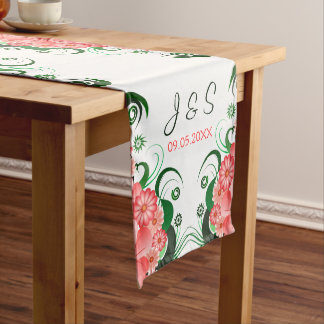Pink Floral Hibiscus 16 x 108 Wedding Table Runner Long Table Runner