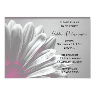 "Pink Floral Highlights Quinceanera Invitation 5"" X 7"" Invitation Card"
