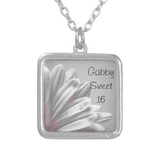 Pink Floral Highlights Sweet 16 Necklace