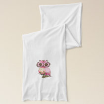 Pink  Floral Hooty Owls Scarf