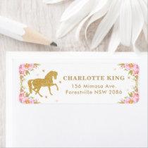 Pink Floral Horse Birthday Baby Shower Address Label