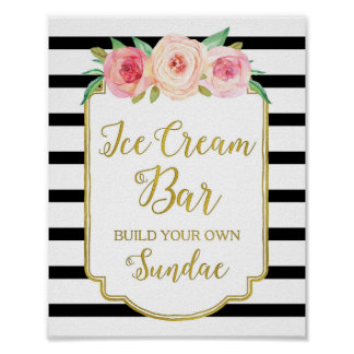 Pink Floral Ice Cream Bar Sign Gold Black Stripes