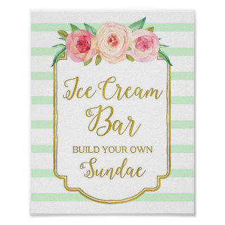 Pink Floral Ice Cream Bar Sign Gold Mint Stripes Poster