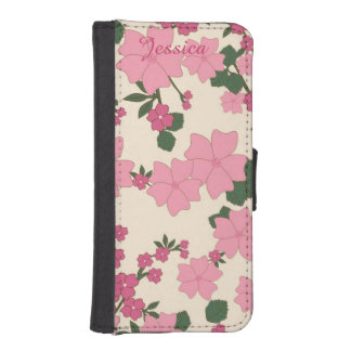 Pink Floral iPhone 5 Wallet Style Case