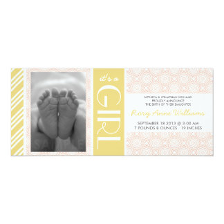 Pink Floral It's a Girl Birth Announcement
