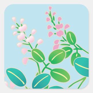 Pink Floral Japanese Kimono Pattern Square Sticker